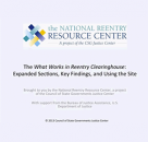 The What Works in Reentry Clearinghouse: Expanded Sections, Key Findings, and Using the Site