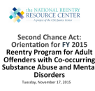2015 Second Chance Act Orientation for Adult Co-Occurring Grantees